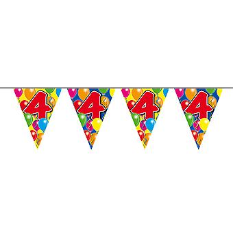 Pennant chain 10 m number 4 years birthday decoration party Garland