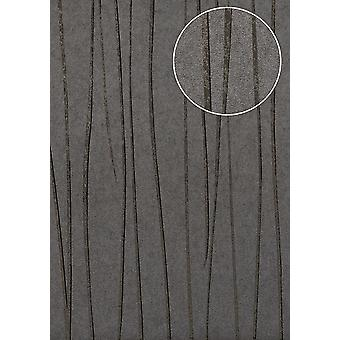 Fine stripe wallpaper Atlas COL-568-1 non-woven wallpaper smooth design shimmering grey Platinum grey anthracite grey 5.33 m2