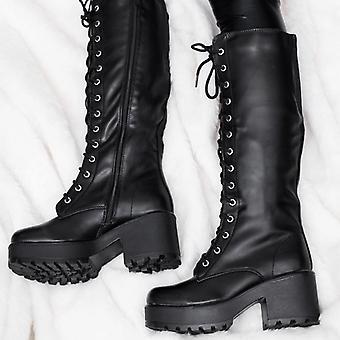 Spylovebuy JEDEYE Cleated Sole Lace Up Platform Knee High Boots - Black Leather Style