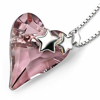 925 Silver Crystal Heart Stars Necklace