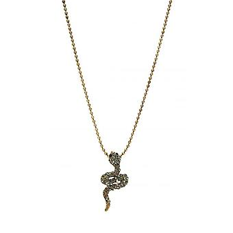 W.A.T Gold Style Sparkling Crystal Snake Pendant