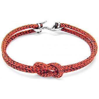 Anchor and Crew Foyle Silver and Rope Bracelet - Red Noir