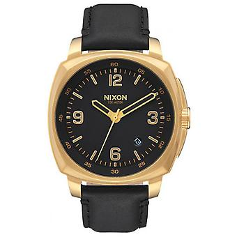 Nixon The Charger Leather Watch - Black/Gold