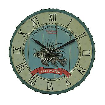 Blue and Green Saltwater Fishing 23 inch Bottle Cap Wall Clock