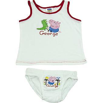 Boys George Pig Sleeveless T-shirt / Vest & Briefs Set