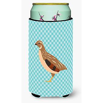 Golden Phoenix Wachtel blau kariert großer Junge Getränk Isolator Hugger