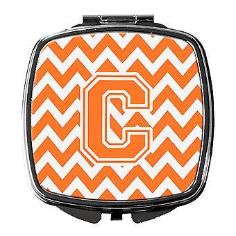 Buchstabe C Chevron Orange und weiß Taschenspiegel