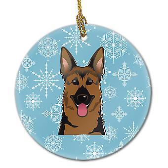 Carolines Schätze BB1645CO1 Schneeflocke Schäferhund Keramik Ornament