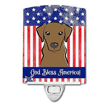 American Flag and Wirehaired Dachshund Ceramic Night Light