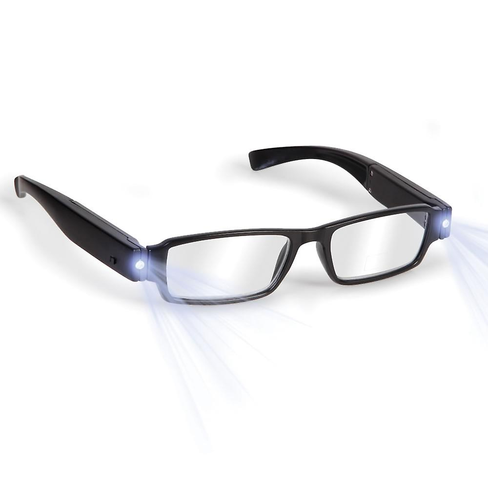 Boolavard® TM Black LED Reading Glasses-presbyopic glasses with LED light Power/Diopter; +3.0