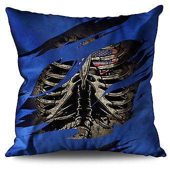 USA Skeleton Death Linen Cushion USA Skeleton Death | Wellcoda