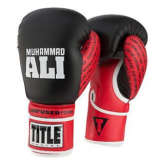 Ali Boxing tytuł podawać pianki hak i pętli rękawice bokserskie - czarny/czerwony/biały