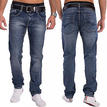 Men's Slim fit Jeans Tapered Denim dark blue jeans trousers pants stretch