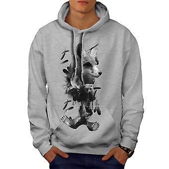 Fox Bear Bird Wild Animal Men GreyHoodie | Wellcoda