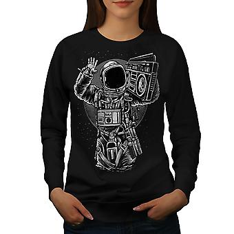 Space Music Cool Fashion Women BlackSweatshirt | Wellcoda