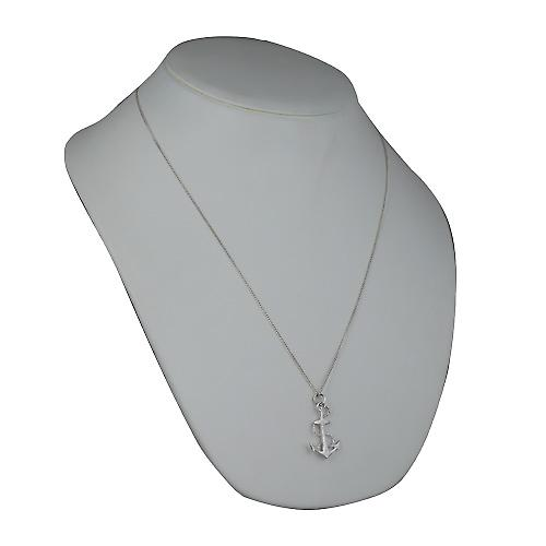 Silver 30x20mm Anchor Pendant with a curb Chain 24 inches
