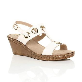 Ajvani womens mid wedge heel slingback t-bar platform comfort sandals