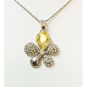 Blomma blad fjäril gult och guld kristall och strasshalsband