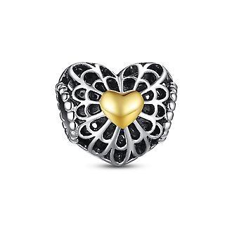 Koralik srebrny 925 serce rzeźbiony i trochę charms złote serce