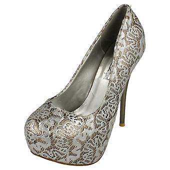 Ladies Spot On High Heel Covered Platform Court Shoe with Overlay Design