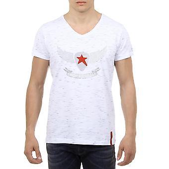 Andrew Charles Mens T-shirt Short Sleeves V-neck White Connor