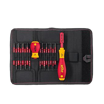 Wiha Tools SlimVario 18 Piece SoftFinish Electricians Screwdriver And Bit Holder