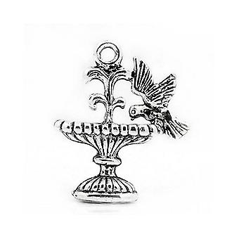 Packet 15 x Antique Silver Tibetan 21mm Bird Fountain Charm/Pendant ZX04550