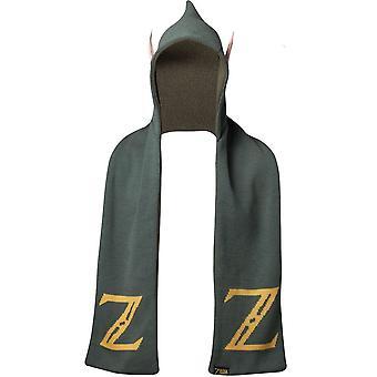 Nintendo Legend of Zelda Logo Kapuzen-Schal mit Ohren Größe grün