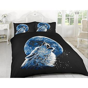 Wolf Moonlight Animal 3D Duvet Quilt Cover Polyester Printed Bedding Set