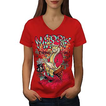 Christmas Santa Funny Women RedV-Neck T-shirt | Wellcoda