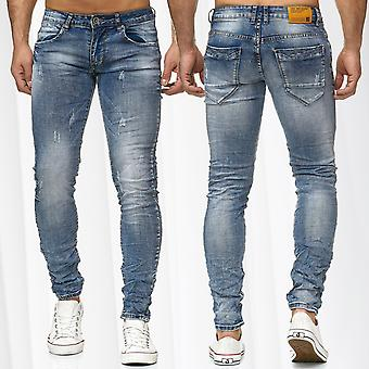 Men's Jeans Jeans Pants Ripped Vintage Leather Application Used Denim Patch