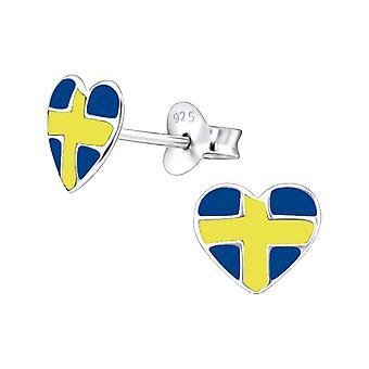 Sweden Heart - 925 Sterling Silver Colourful Ear Studs - W23425X