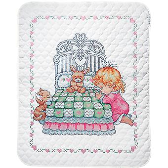 Bedtime Prayer Girl Quilt Stamped Cross Stitch Kit-36