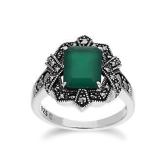 Gemondo srebro barwiony Chalcedon & markazytu Octagon Art Nouveau pierścień
