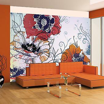 Behang - een delicate bloemmotief