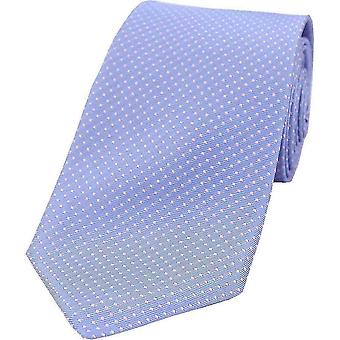 David Van Hagen Pin Dot Silk Tie - Sky Blue/Pink