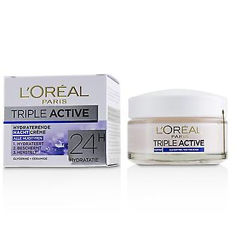 L'oreal Triple Active Hydrating Night Cream 24H Hydration - For All Skin Types - 50ml/1.7oz