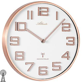 Wall clock radio radio controlled wall clock analog red gold colors round ø 26.5 cm