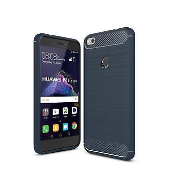Huawei P8 Lite 2017 TPU Case Carbon Fiber Optik Brushed Schutz Hülle Blau