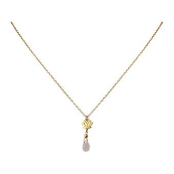Damen - Halskette - Anhänger - 925 Silber - Vergoldet - Lotus Blume - Rosenquarz - Tropfen - Rosa - YOGA - 45 cm