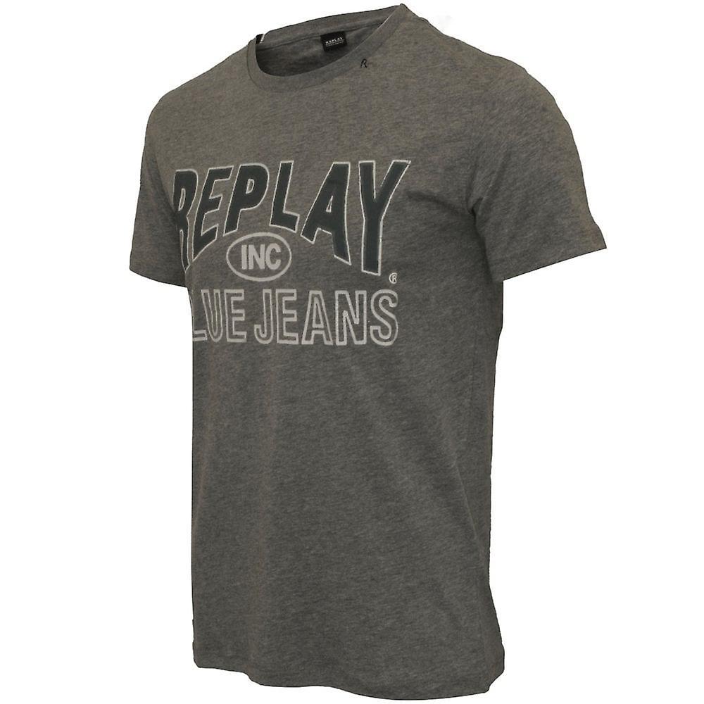 Replay Blue Jeans Logo T-Shirt, Grey Melange
