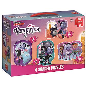 Disney 19627 4 in 1 Shaped Vampirina Jigsaw Puzzle, Multi