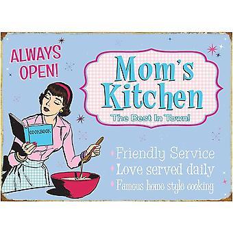 Mom's Kitchen large metal Sign 400mm x 300mm (rh)