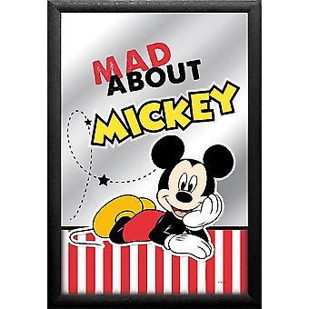 Mickey Maus Spiegel Mad about Mickey bunt, bedruckt, mit schwarzem Kunststoffrahmen in Holzoptik.