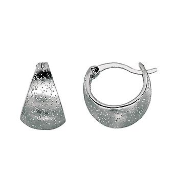 Sterling Silver Rhodium Plated With Brushed Diamond Dust Finish Graduated Snuggable Earrings