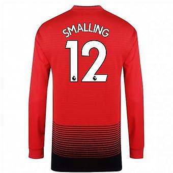 2018-2019 Man Utd Adidas Home Long Sleeve Shirt (Smalling 12) - Kids