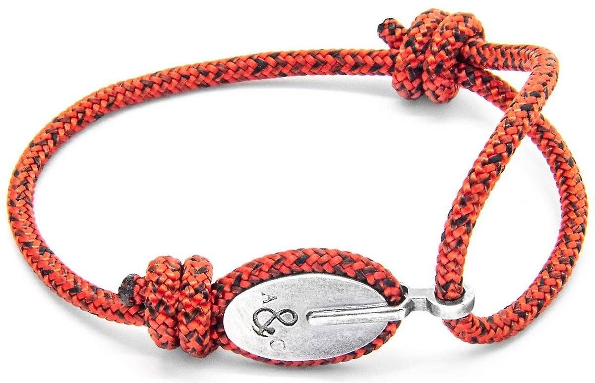 Anchor and Crew London Silver and Rope Bracelet - Red Noir