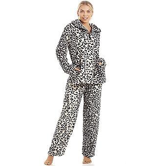 Camille polar Supersoft lujo gris Snow Leopard impresión pijama conjunto