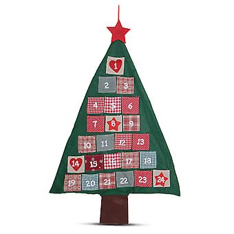 Christmas Tree Advent Calendar Red & Green Fabric with Numbered Pockets