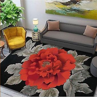 Wool Large Size Carpets (red Flower Design)